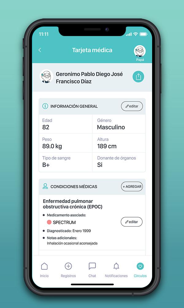 Agrega información a la Tarjeta médica