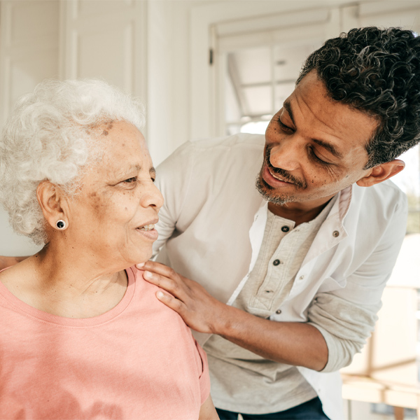 Men as caregivers caring for sick loved one at home